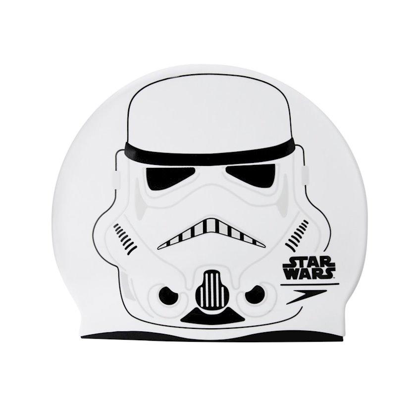 Üzmək üçün papaq Speedo Star Wars Stormtrooper Slogan Print Kids Swimming Cap 8-08386C632, uşaq üçün, ağ-boz, ölçü universal