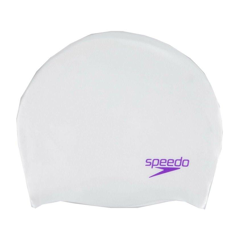 Üzmək üçün papaq Speedo Junior Plain Moulded Silicone Cap, White with Purple Lettering 8-70990C910, uşaq üçün, ağ, ölçü universal