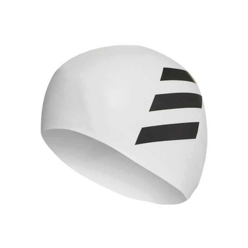 Üzmək üçün papaq Adidas 3-STRIPES SWIMMING CAP FJ4968 SIL 3S, uniseks, ağ-qara, ölçü universal