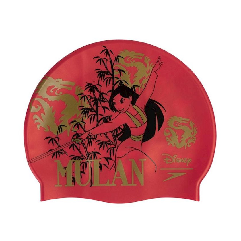 Üzmək üçün papaq Speedo Disney Print Cap Mulan Slogan Print Swim Hat - Red-Gold 8-083857321, uniseks, qırmızı-qızılı, ölçü universal