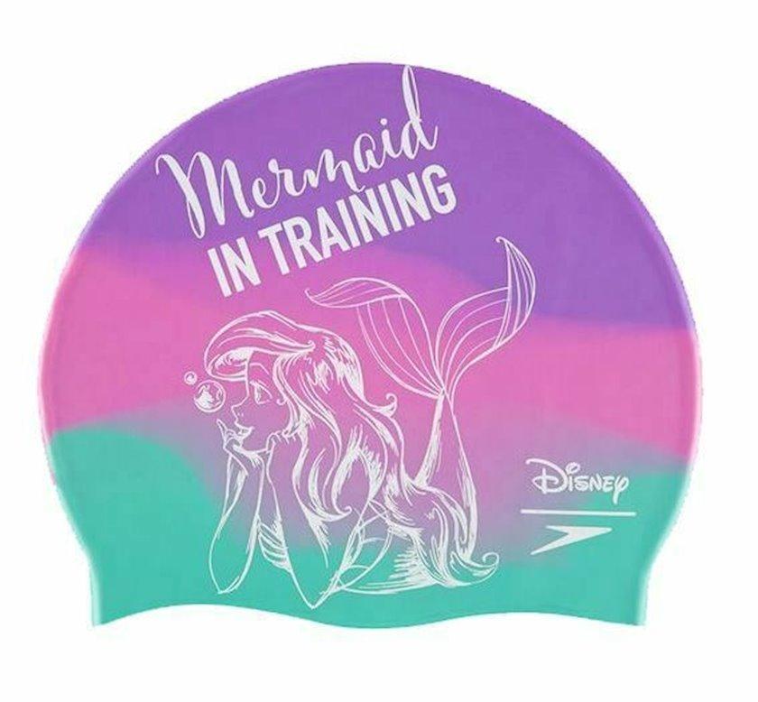 Üzmək üçün papaq Speedo Junior Silicone Swimming Cap Hat - Disney Little Mermaid 8-08385D563, uniseks, bənövşəyi-yaşıl, ölçü universal