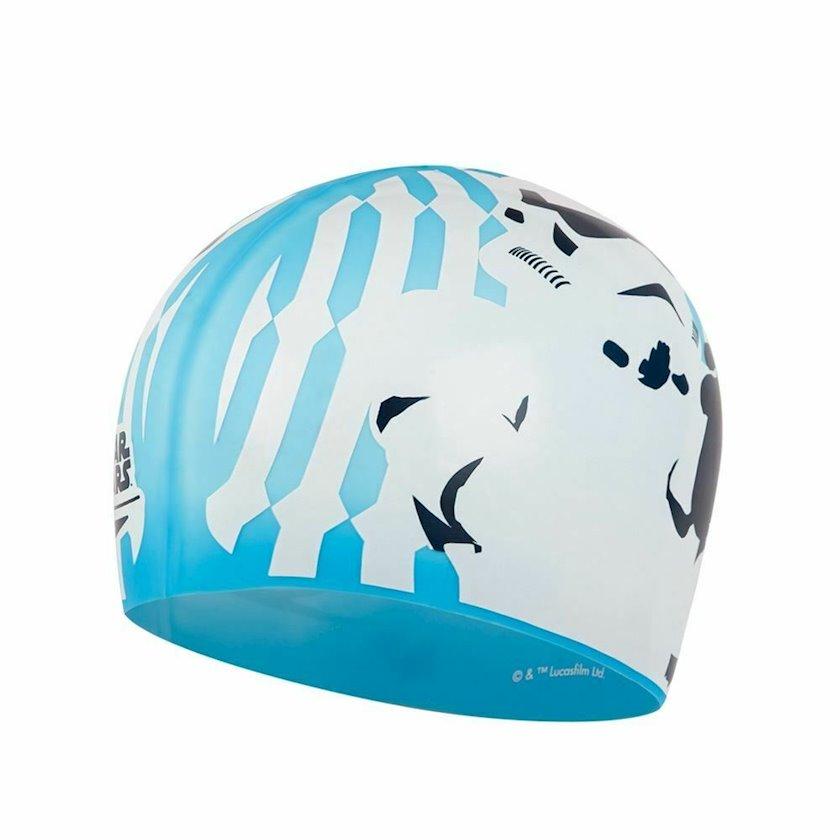 Üzmək üçün papaq Speedo Stormtrooper Slogan Print Cap - Silicone Swimming Hat - Blue 8-08385D676, uniseks, göy, ölçü universal