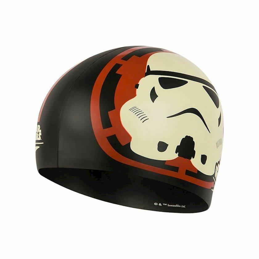 Üzmək üçün papaq Speedo Junior Stormtrooper Slogan Print Cap - Silicone Swimming Hat - Black 8-083864003, uşaqlar üçün, qara-qırmızı, ölçü universal