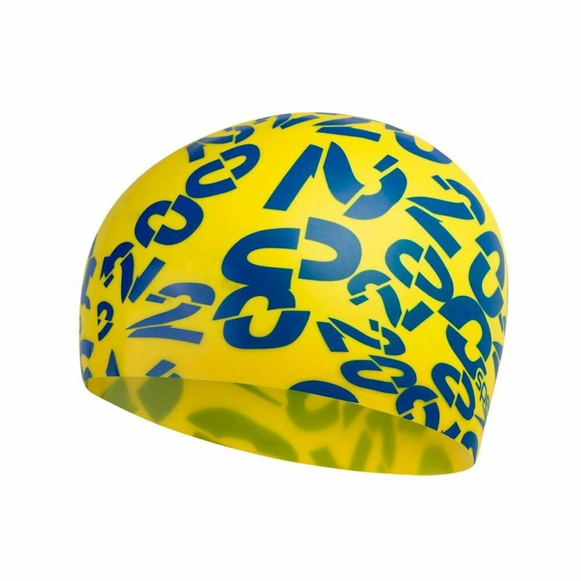 Üzmək üçün papaq Speedo Junior Slogan Print Cap - Silicone Swimming Hat - Yellow 8-08386D690, uşaqlar üçün, sarı-göy, ölçü universal