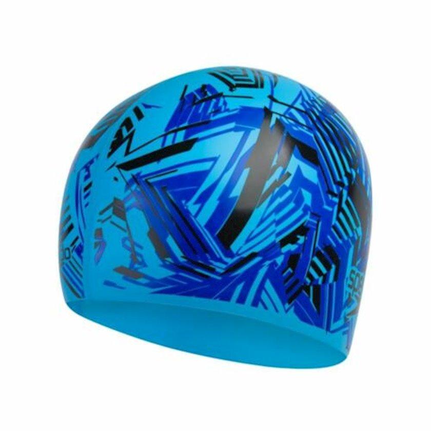 Üzmək üçün papaq Speedo Junior Slogan Print Cap - Silicone Swimming Hat - Blue 8-08386D692, uşaqlar üçün, göy-qara, ölçü universal