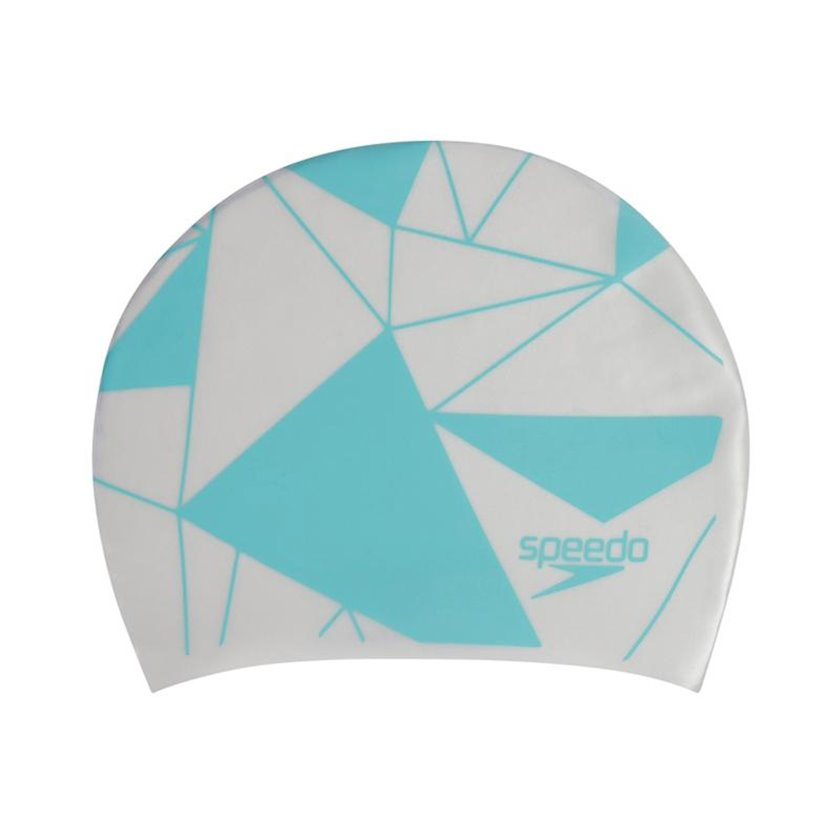 Üzmək üçün papaq Speedo Printed Long Hair Cap Swim Hat - White-Blue 8-113064284, uniseks, ağ-göy, ölçü universal