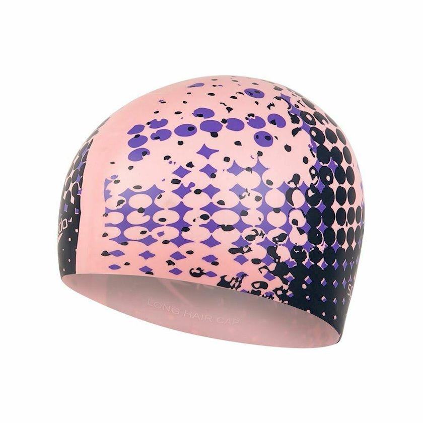 Üzmək üçün papaq Speedo Printed Long Hair Cap - Silicone Swimming Hat - Pink 8-11306D687, uniseks, çəhrayı, ölçü universal