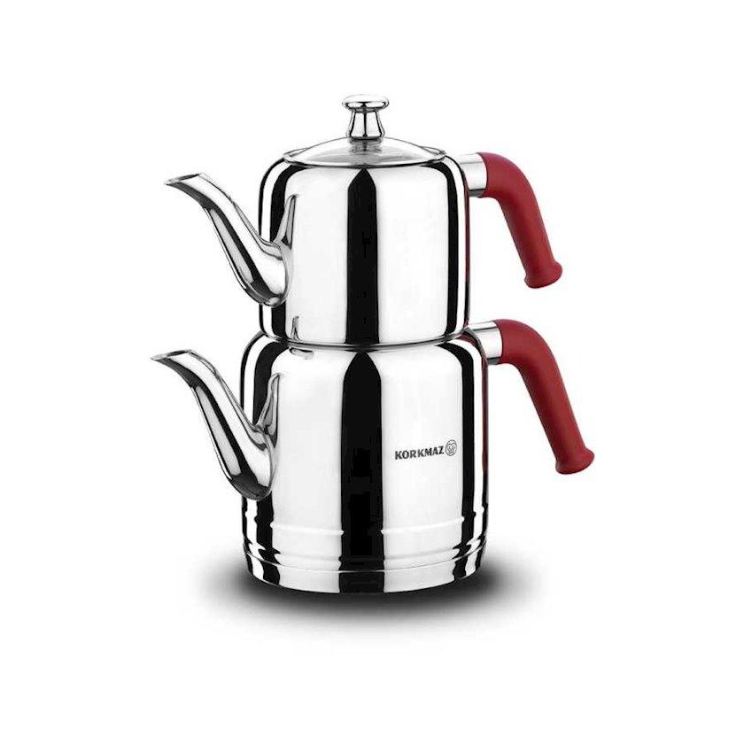 Çaydan dəsti Korkmaz Riva A189, 1.9lt. + 1.1lt., Material: paslanmayan polad, Rəng: qırmızı