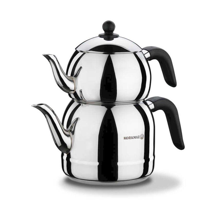 Çaydan dəsti Korkmaz Retro A194, 2.5lt. + 1.2lt., Material: paslanmayan polad, Rəng: qara
