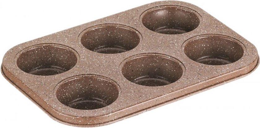 Bişirmə üçün forma Korkmaz Muffy A651, Material: alüminium, yapışmayan örtük, Rəng: qəhvəyi