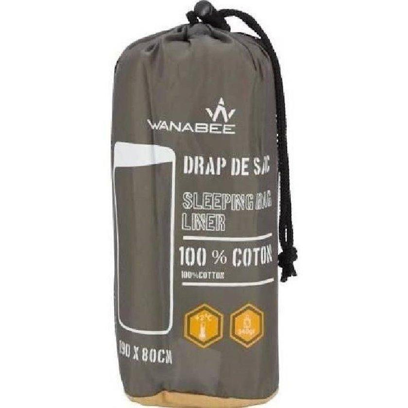 Yataq çantası astarı Wanabee Rectangle Sleeping Bag Liner, Pambıq, Boz, 190sm x 80sm, 340q