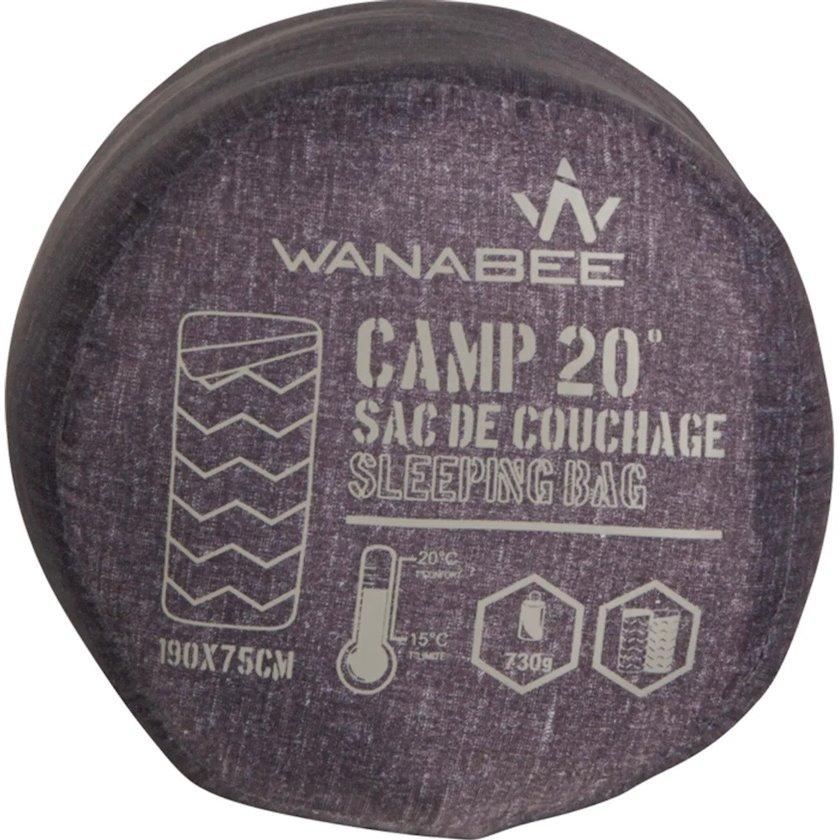 Yuxu torbası Wanabee Camp KD 20, Sintetik doldurucu, Boz, Rahatlıq temperaturu 20 °C, Ölçü 190sm x 75sm, Çəki 730q