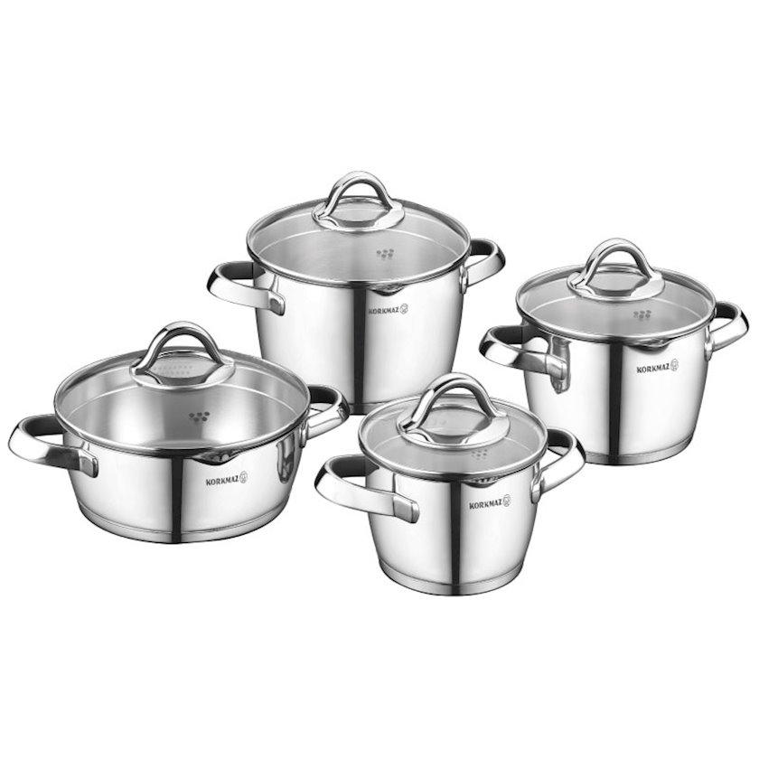 Mətbəx dəsti Korkmaz Vertex A1973 8 PCS Cookware, Material: paslanmayan polad, Rəng: gümüşü