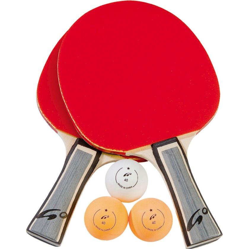 Stolüstü tennis üçün dəst Athlitech Set 2 Go Unique Racquet, 2 raketka+3 top