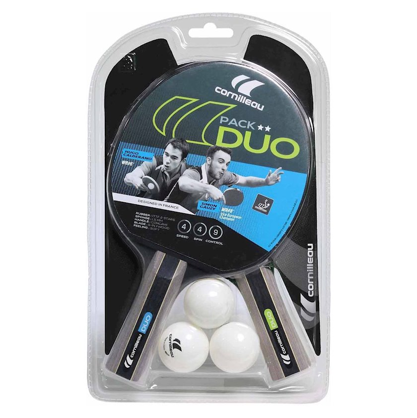 Stolüstü tennis üçün dəst Cornilleau Sport Duo Pack, 2 raketka+3 top, 2 stars