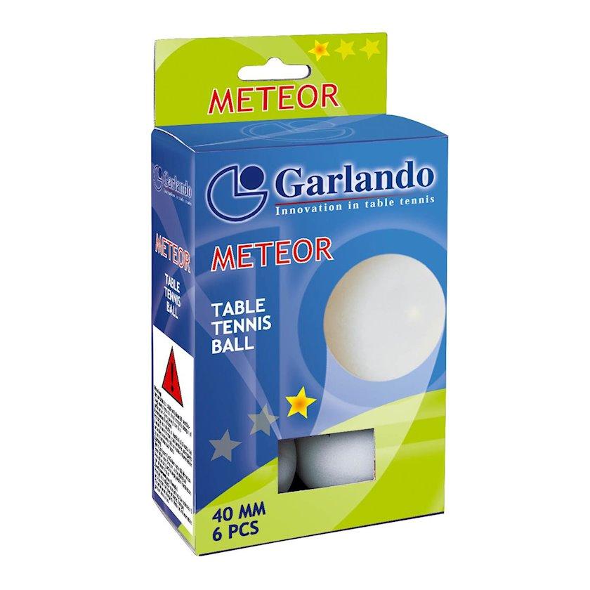 Stolüstü tennis üçün top dəsti Garlando Meteor 6 Palline 1 Stella, 6 ədəd, ağ