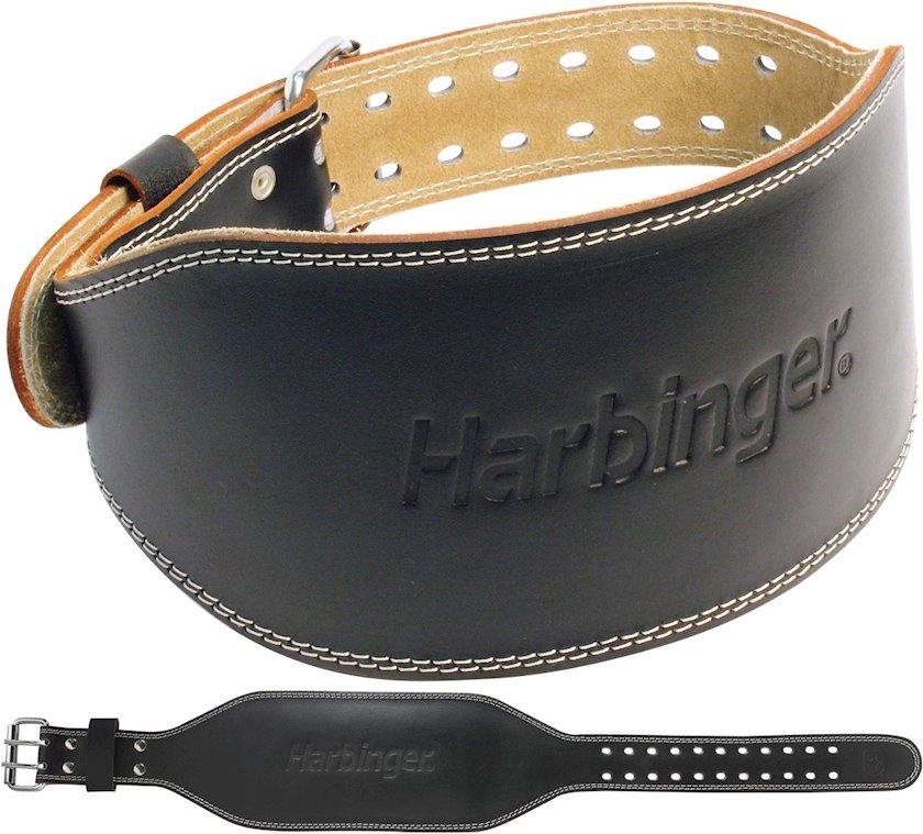 Fitness kəməri Harbinger 6 Inch Padded Leather Belt, Uniseks, Dəri, Qara, Ölçü-M
