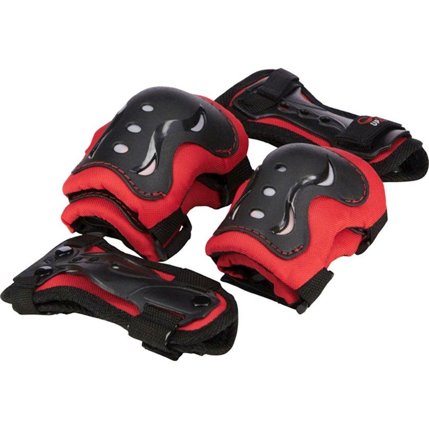 Qoruma dəsti rolik üçün 3 cüt qoruyucu cihazla Up2glide, oğlanlar üçün, tənzimlənən diz yastıqları/dirsək yastıqları və biləklər, ölçü XS, qırmızı qara