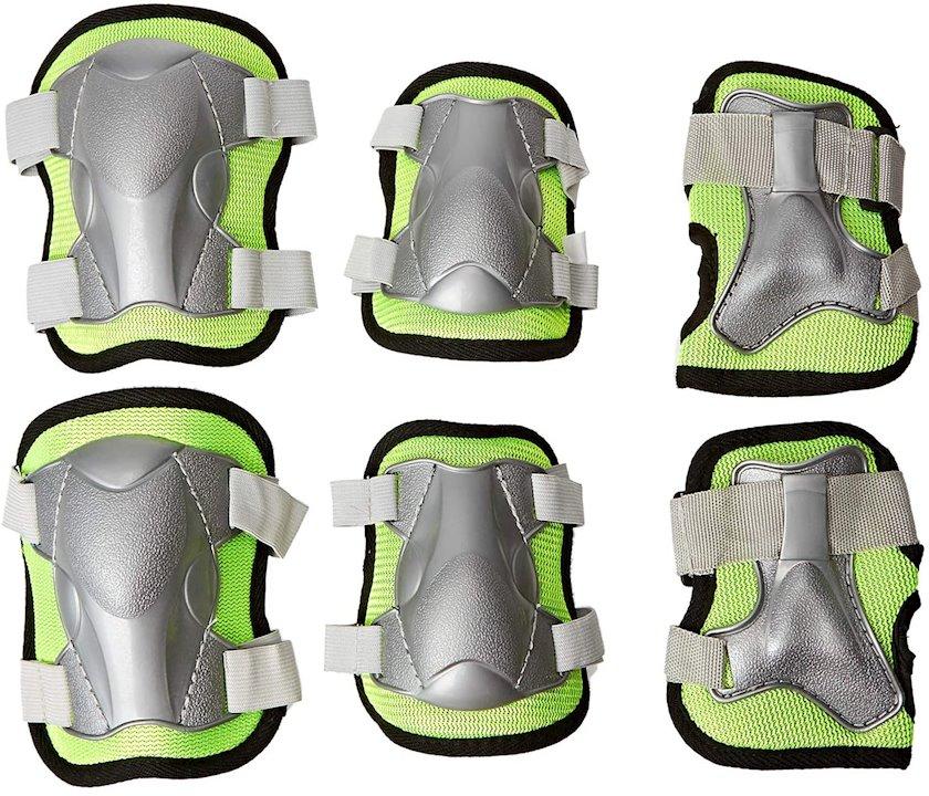 Qoruma dəsti skeytbord üçün LA Sports 6-Piece Protective Combo Set, tənzimlənən diz yastıqları/dirsək yastıqları və biləklər, ölçü M, yaşıl