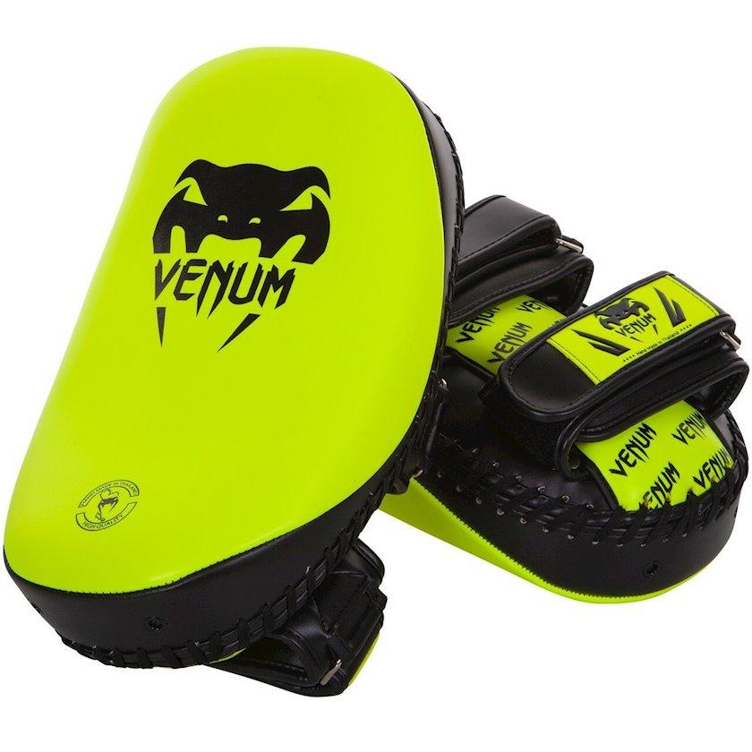 Boks yastıqları Venum LIGHT KICK PADS - SKINTEX LEATHER, qara/neon sarı