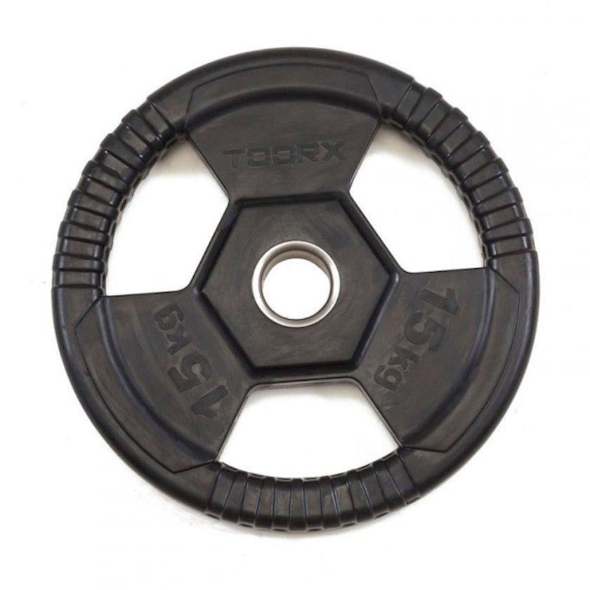 Disk Toorx Disc Rubberized Cast Iron, 15kq, çuqun, dəliyin diametri 50mm