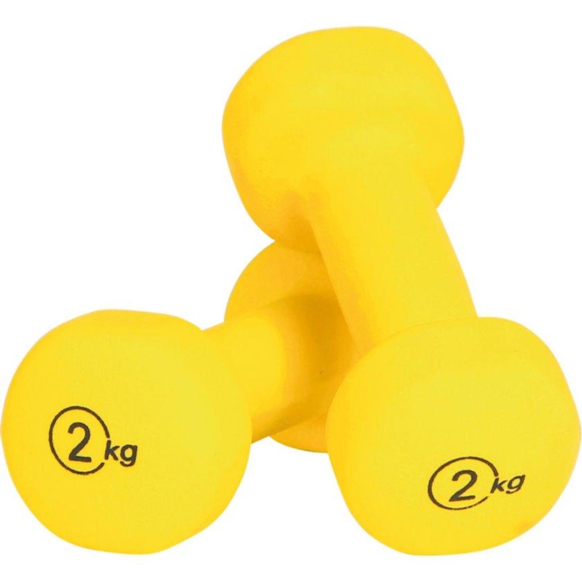 Sabit hantellər ATHLITECH HALTERES 2 vinil, 2 əd  х 2 kq, sarı