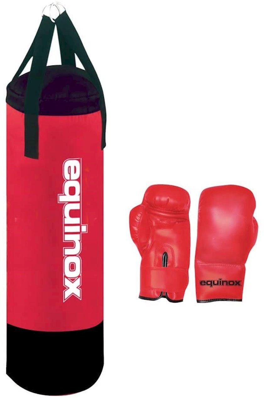 Uşaqlar üçün boks kisəsi dəsti Toorx Equinox Junior Pro Boxing Bag  BOE-002 asılqanla, 6 unsiy ölçülü əlcəklərlə, rəng-qırmızı/qara, çəki 6 kq