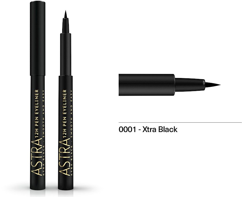 Göz üçün boyama flomaster Astra Make-Up 12H Pen Eyeliner Extra Black 1.1 ml