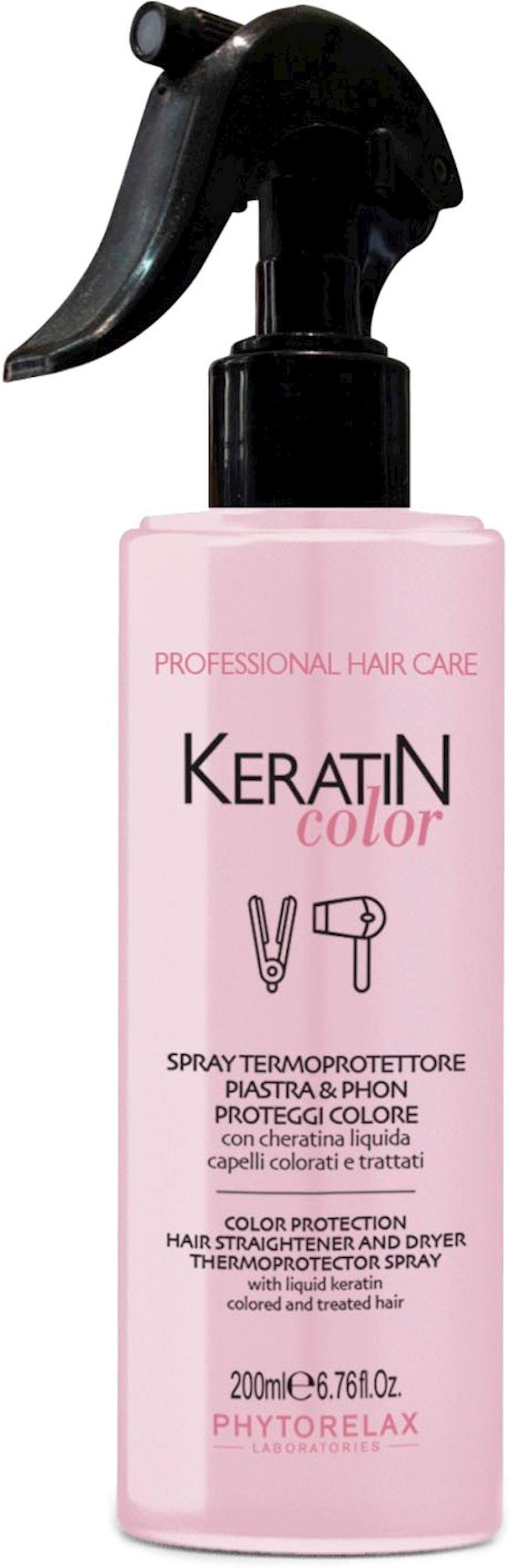 Saç üçün sprey-termomüdafiə Phytorelax Laboratories Keratin Color 250 ml