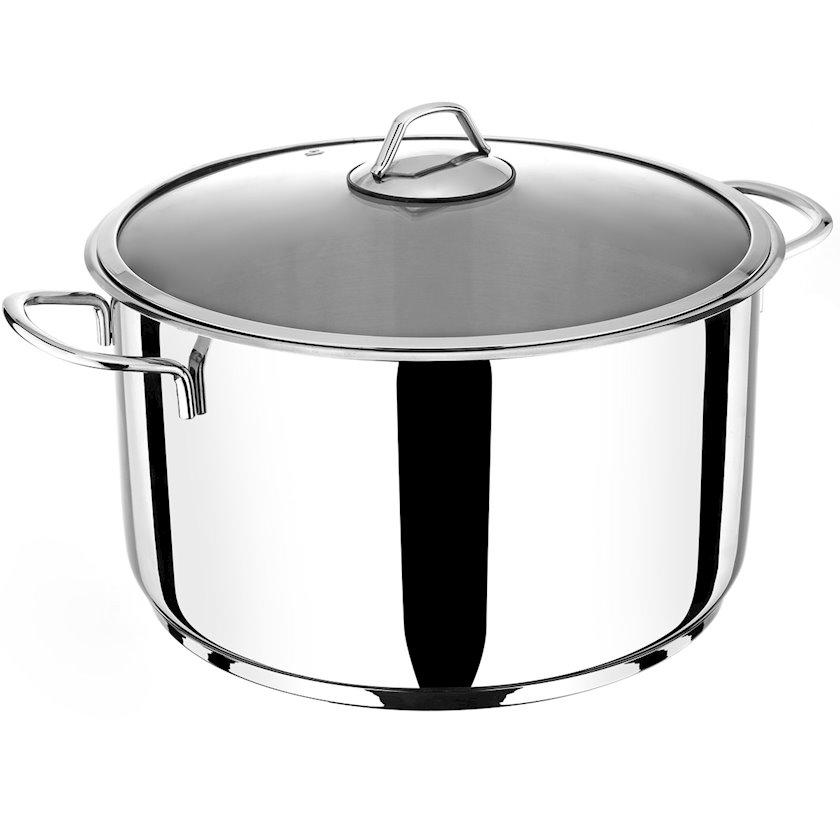 Qazan Bonera Omega Shallow Pot, Paslanmayan polad, Gümüşü, 11 l, Şüşə qapaq ilə, 28x18 sm