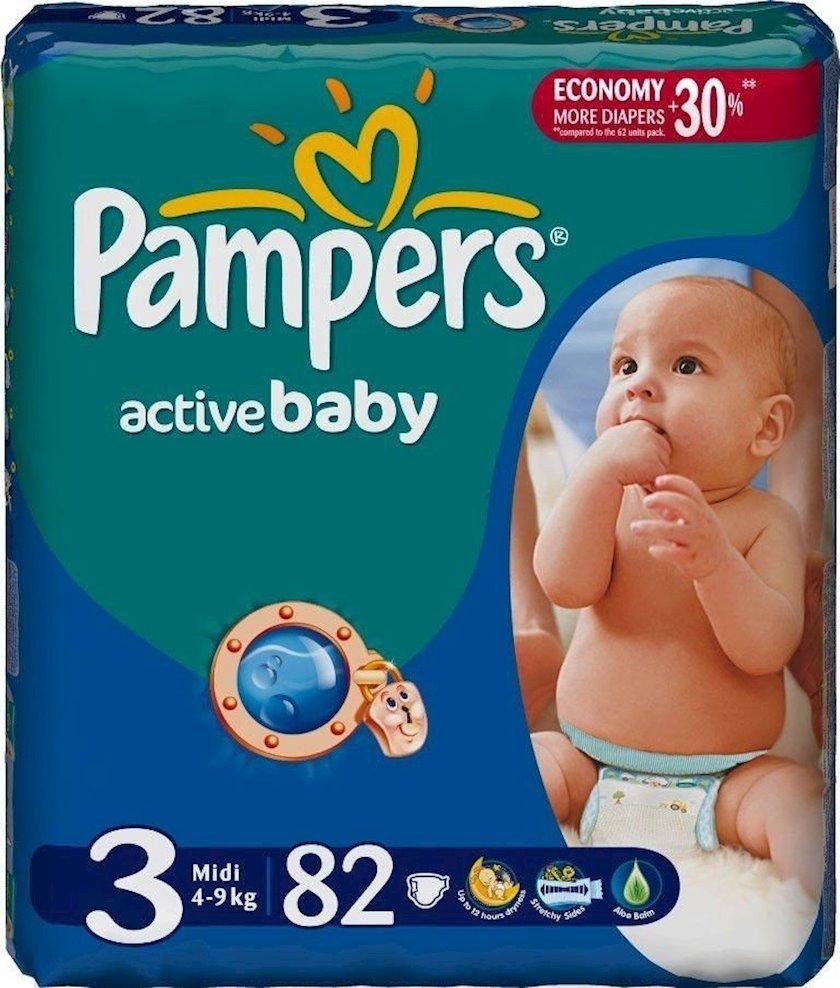 Uşaq bezləri Pampers Active Baby Dry Midi 4-9 kq 82 əd