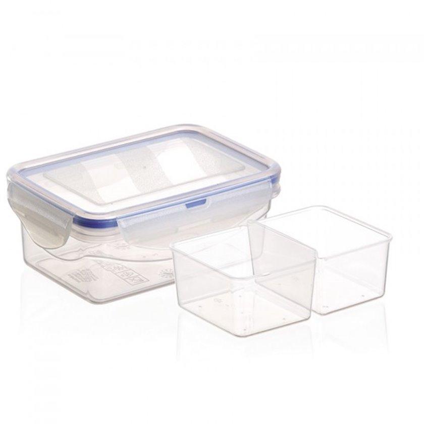 Saxlama konteyneri Uchsan Plastik, 2 bölməli, həcm 450 ml, ölçü 13.5x9x5 sm, material plastik