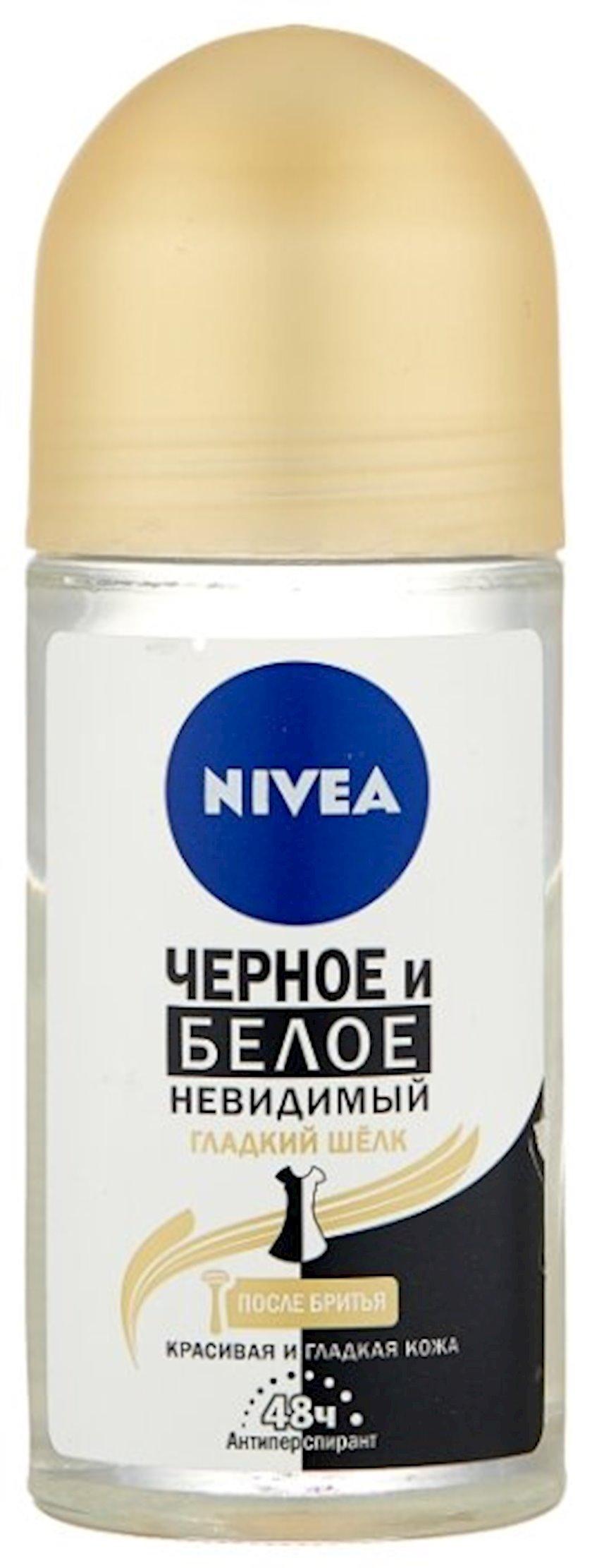Dezodorant-antiperspirant qara və ağ görünməyən hamar ipək qırxılmadan sonra dəri üçün, Nivea 50 ml