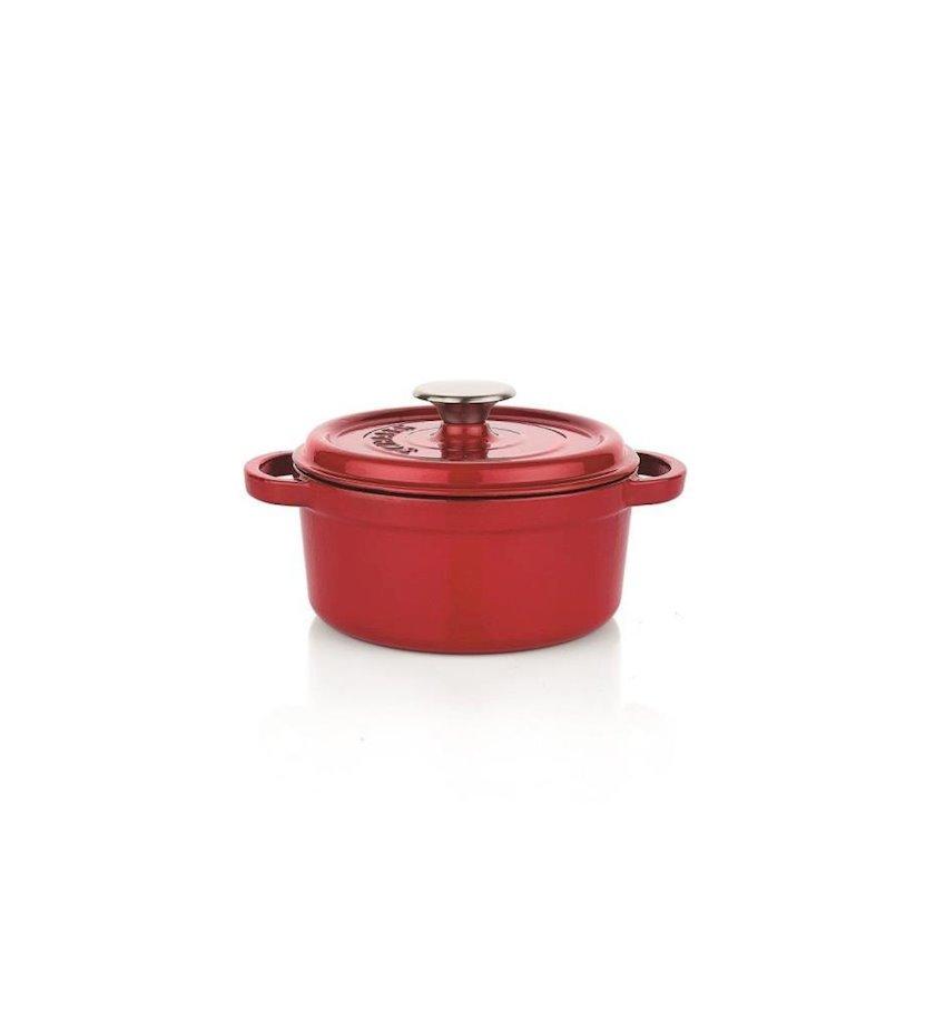 Qazan Schafer Guss Chef Döküm, dərin, rəng qırmızı, ölçü 24 sm, material emal