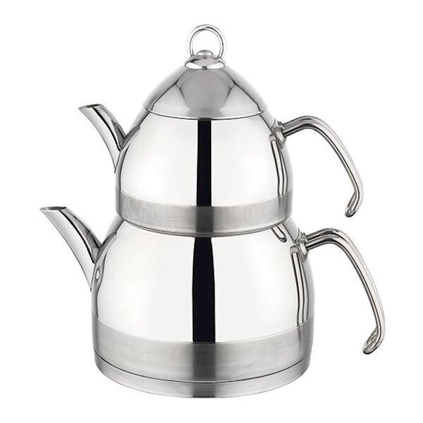 Çaydan dəsti Schafer Fieber, paslanmayan polad, gümüşü, dəmlik 1 l, çaydan 2.25 l