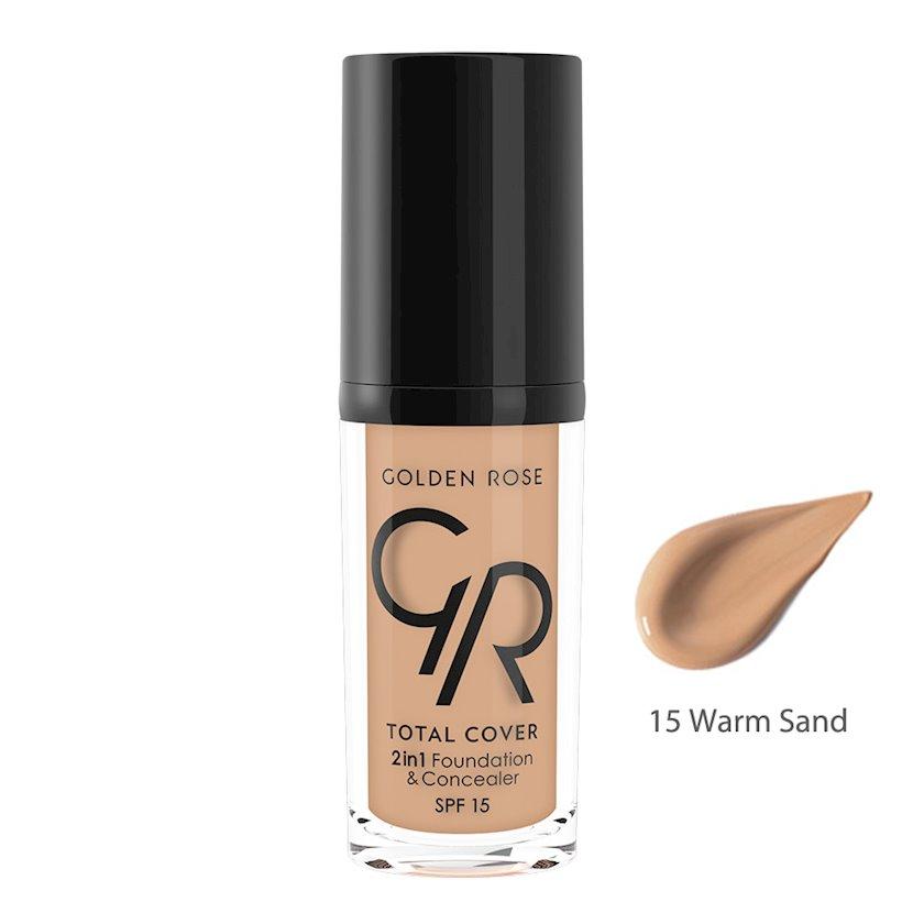 Tonal vasitə və konsiler Golden Rose Total Cover 2in1 Foundation & Concealer 15 Warm Sand