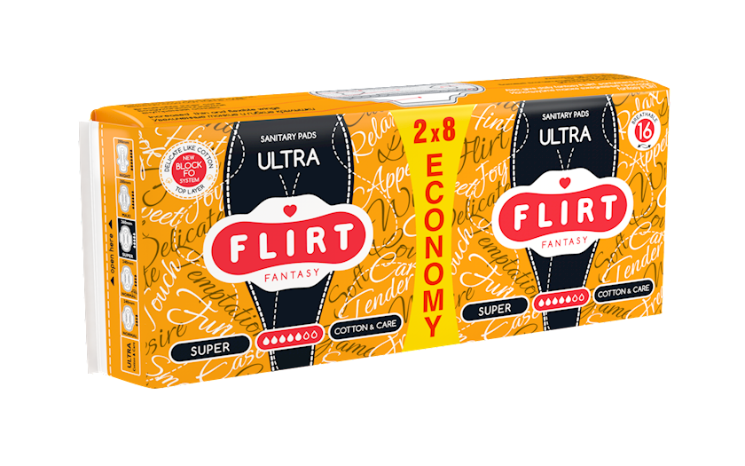 Kritik günlər üçün bezlər fantasy FLIRT Ultra Line, super, cotton&care, 5 damcı, 16 əd