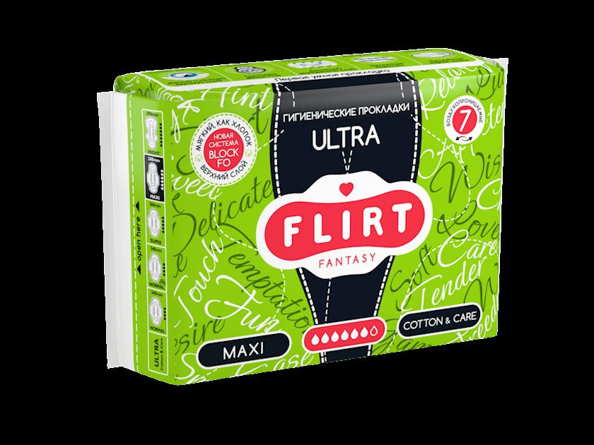 Kritik günlər üçün bezlər fantasy FLIRT Ultra Line, maxi, cotton&care, 6 damcı, 7 əd.