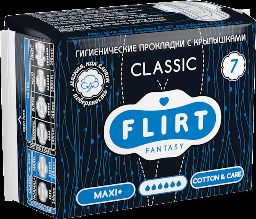 Kritik günlər üçün bezlər fantasy FLIRT Classic Line, maxi+, cotton&care, 6 damcı, 280 mm / 7 əd.