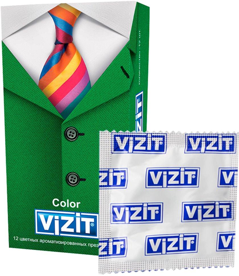 Prezervativlər Vizit Color 12 əd