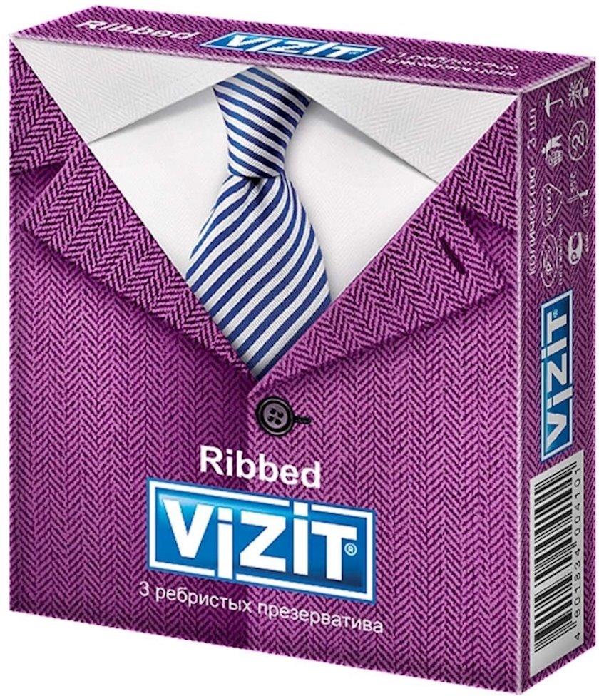 Prezervativlər Vizit Ribbed 3 əd