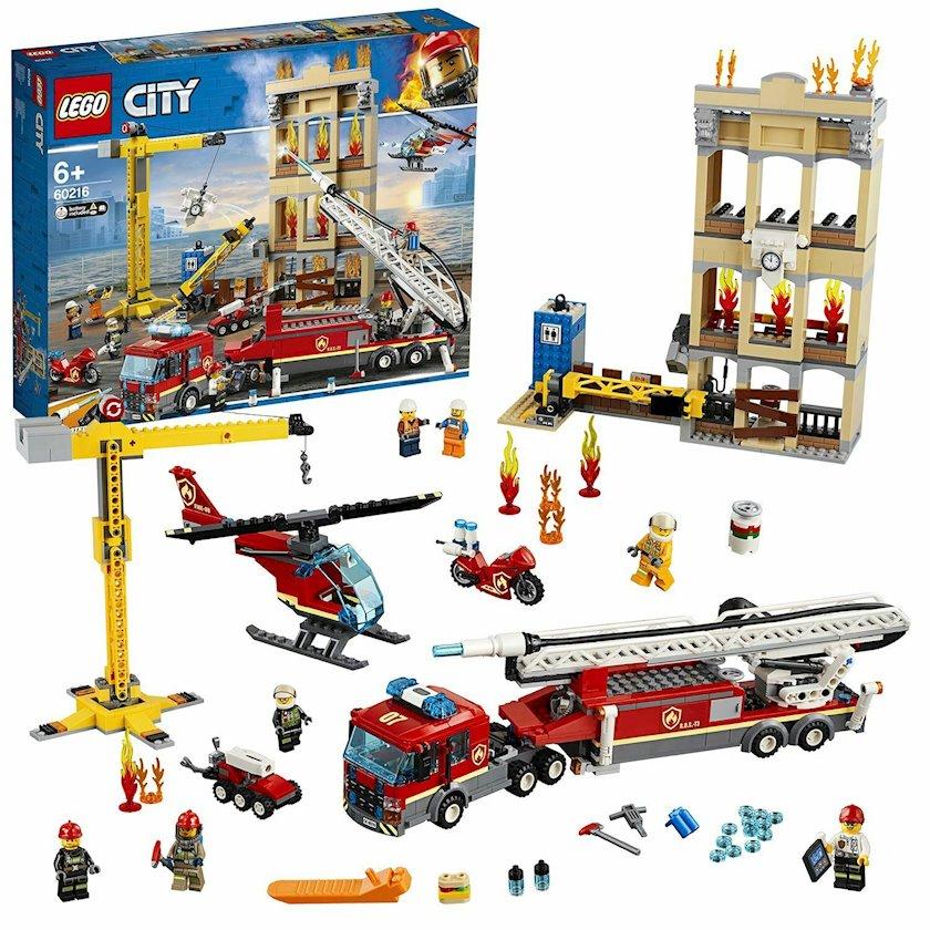 Konstruktor Lego City Downtown Fire Brigade 60216, 48x37.8x9.4 sm, yaş 6+, 1865 q, 910 ədəd, 7 mini fiqur