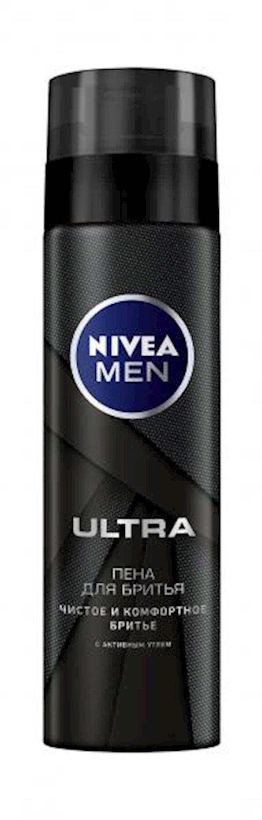 Təraş köpüyü Nivea Men Ultra  aktiv kömür ilə , 200 ml