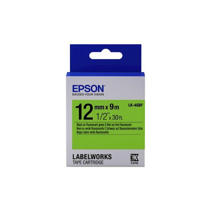Lent Epson Tape - LK4GBF Fluor Black/Green 12/9