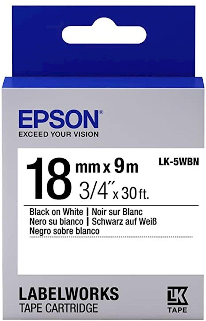Lent Epson Tape - LK5WBN Std Black/White 18/9