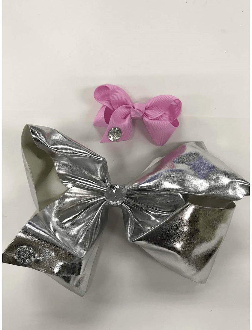 Saçlar üçün bant Her Accessories JoJo Siwa Metallic Bow 2 Pack, gümüşü/çəhrayı, 3-10 yaş