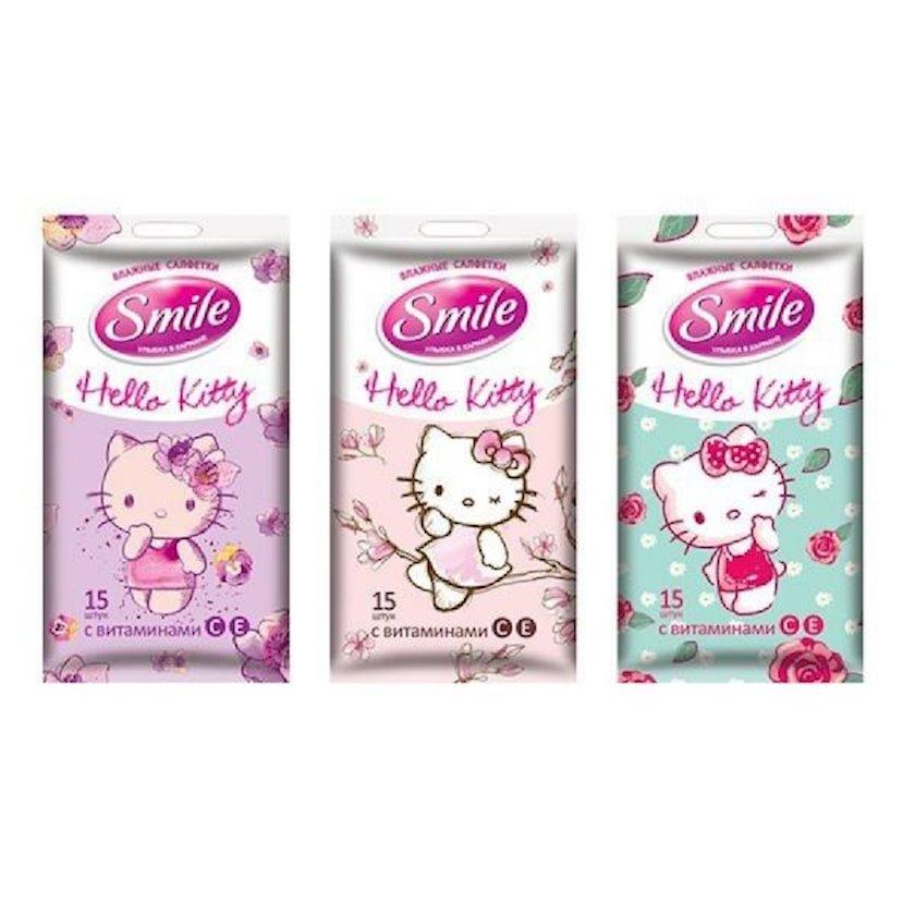 Nəm salfetlər Smile Hello Kitty, 15 ədəd