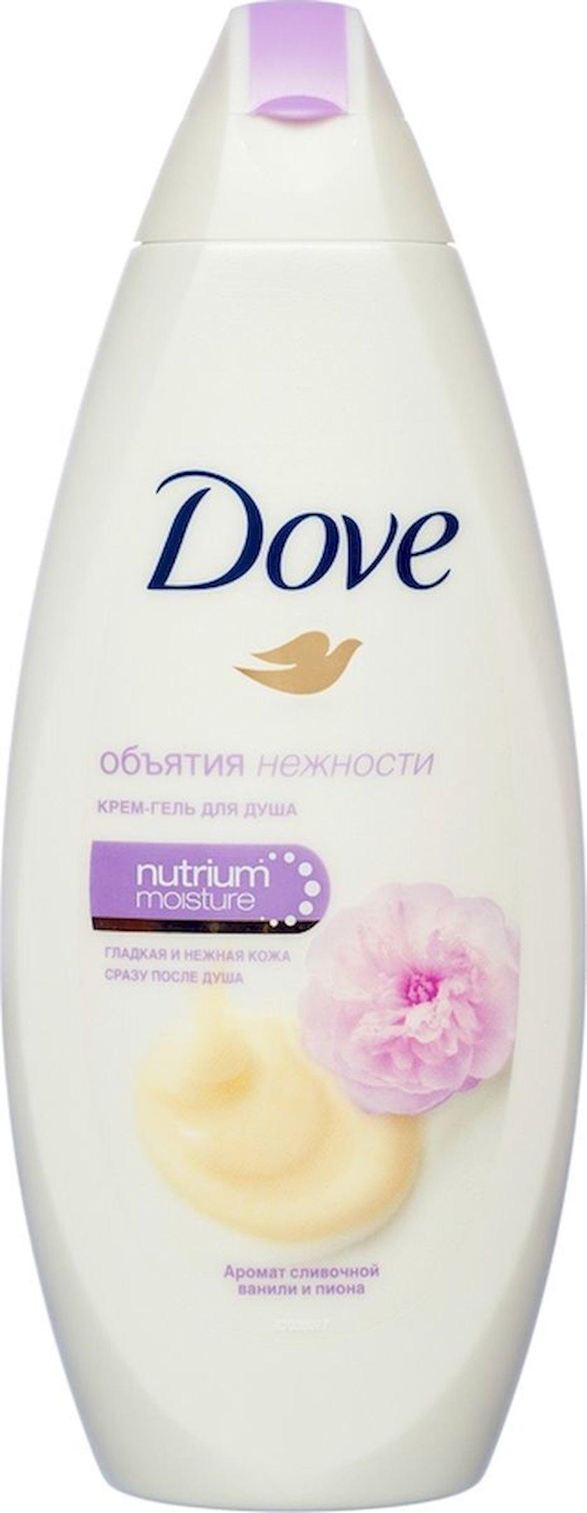 Duş üçün gel-krem Dove  Zəriflik qucağı Qaymaqlı sulfatsız  vanil və pion, 250 ml