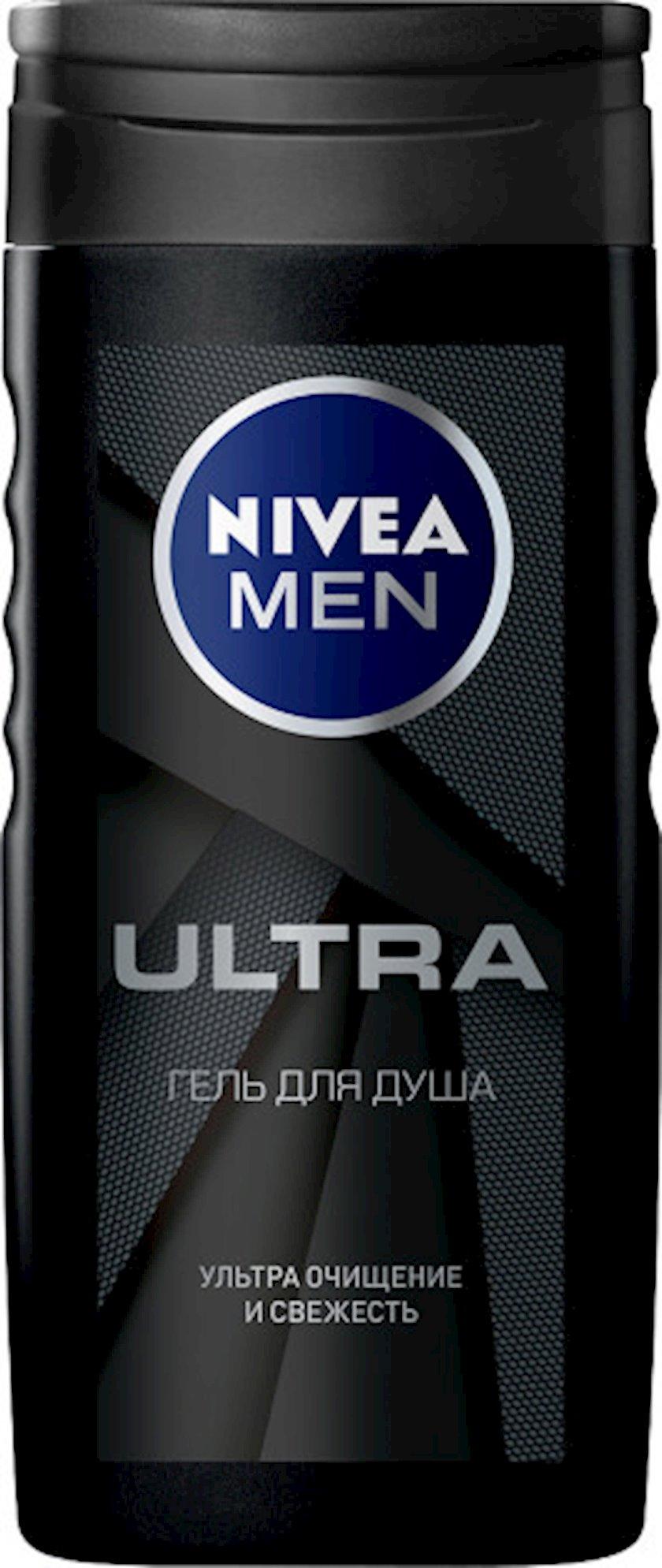 Duş üçün gel Nivea Men Ultra kişilər üçün təbii gil ilə 250 ml