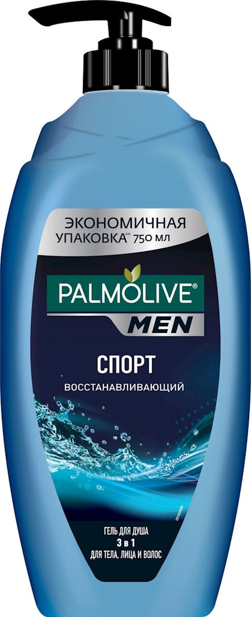 Duş üçün gel və şampun Palmolive Men  3-ü 1-də İdman, bərpa edici kişilər üçün, 750 ml